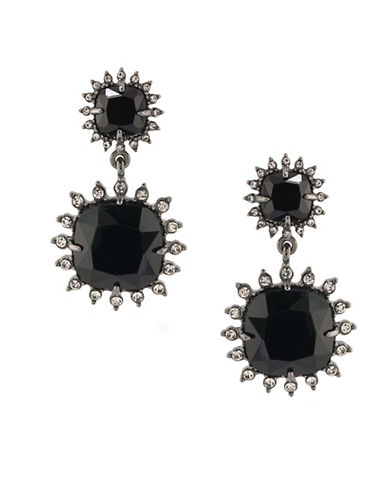 Carolee Gotham Hematite-Tone Geometric Drop Earrings-BLACK-One Size