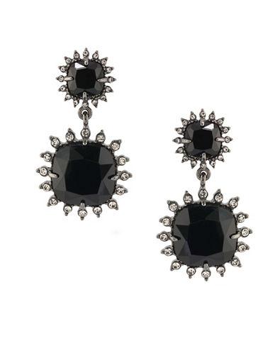 Carolee Gotham Hematite-Tone Geometric Drop Earrings-BLACK-One Size 88744633_BLACK_One Size