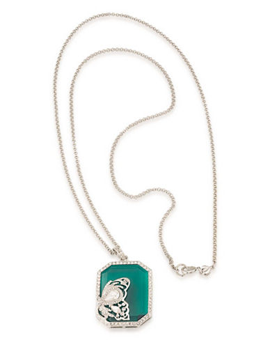 Carolee Wall Street Butterfly Pendant Necklace-GREEN-One Size