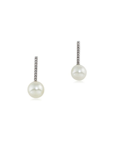 Lauren Ralph Lauren Stick and Pearl Drop Pierced Earrings-WHITE-One Size