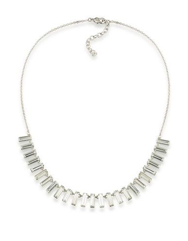 A.B.S. By Allen Schwartz Rockstars Silvertone Baguette Necklace-WHITE-One Size