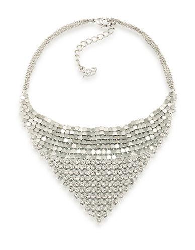 A.B.S. By Allen Schwartz Rockstars Silvertone Mesh Necklace-WHITE-One Size
