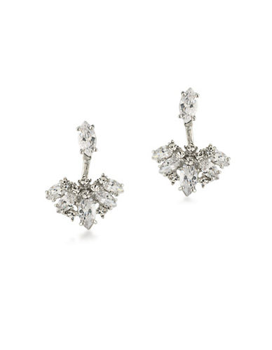 Carolee Cubic Zirconia Studded Front Back Earrings-WHITE-One Size