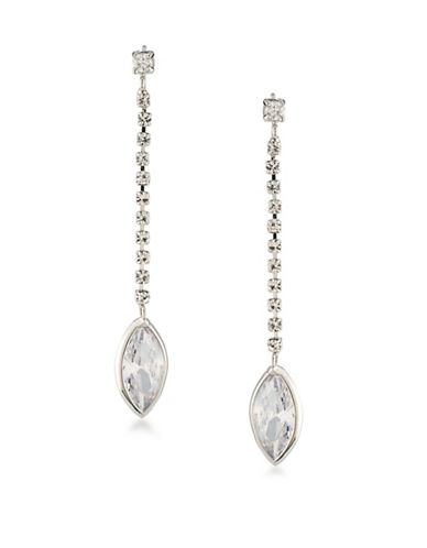 Carolee Cubic Zirconia Studded Linear Drop Earrings-WHITE-One Size