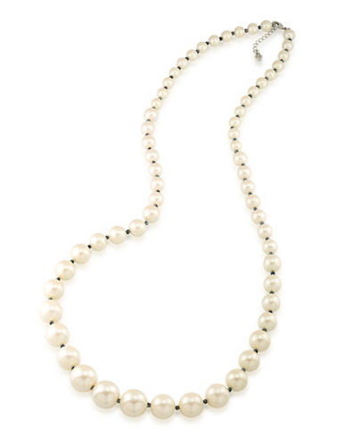 Carolee Graduated Faux Pearl and Hematite Necklace-WHITE-One Size