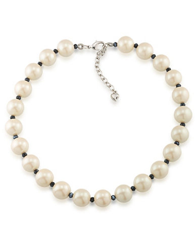 Carolee Hematite and Faux Pearl Necklace-WHITE-One Size