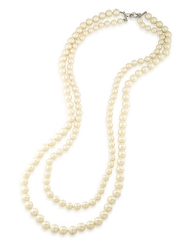 Carolee Two-Row Knotted Faux Pearl Necklace-WHITE-One Size