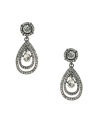 A.B.S. By Allen Schwartz Set in Stone Hematite-Tone Double Drop Earrings-WHITE-One Size