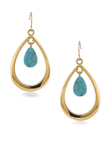 Lauren Ralph Lauren Paradise Found Gypsy Hoop Pierced Earrings-BLUE-One Size