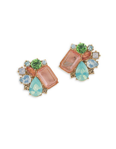 Carolee Cosmo Button Clip On Earrings-MULTI-One Size