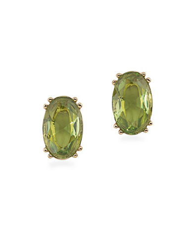 Carolee Faceted Stone Stud Earrings-GREEN-One Size