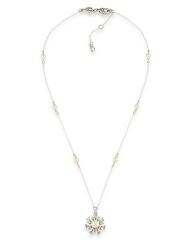 Carolee 21 Club Faux Pearl and Crystal Pendant Necklace-WHITE-One Size