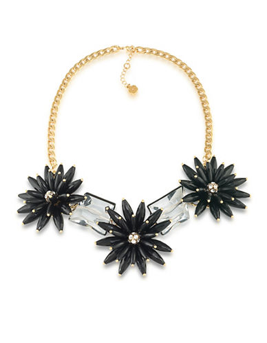 Trina Turk Cabaret Flower and Stone Goldtone Necklace-BLACK-One Size