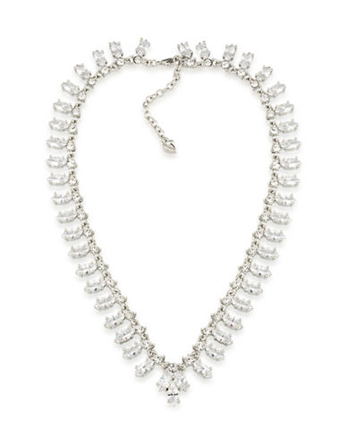 Carolee Cubic Zirconia Studded Collar Necklace-WHITE-One Size