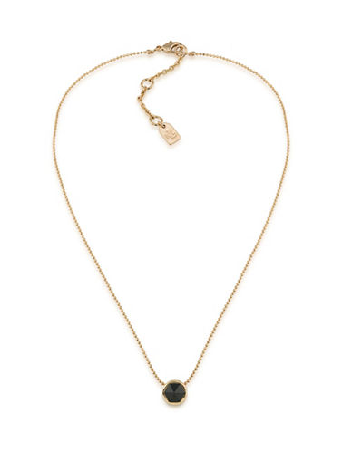 Lauren Ralph Lauren Match Point Goldplated Black Round Pendant Necklace-BLACK-One Size