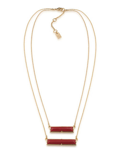 Lauren Ralph Lauren Match Point Goldplated Red Two-Row Rectangle Pendant Necklace-RED-One Size