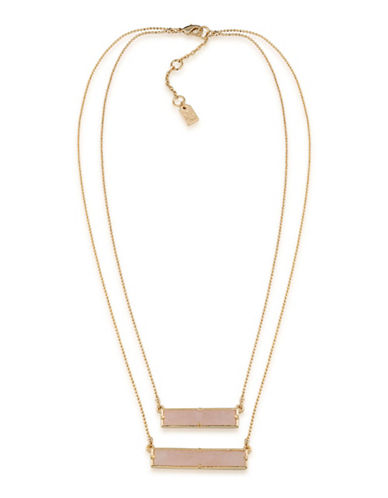 Lauren Ralph Lauren Match Point Goldplated Pink Two-Row Rectangle Pendant Necklace-PINK-One Size