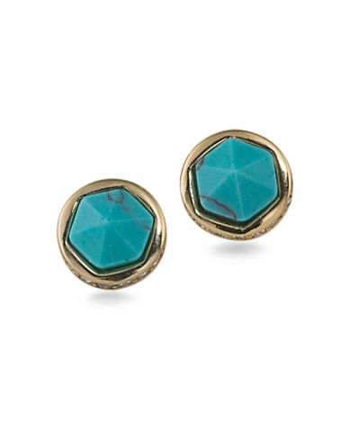 Lauren Ralph Lauren Match Point Reconstituted Turquoise Goldpated Stud Earrings-BLUE-One Size