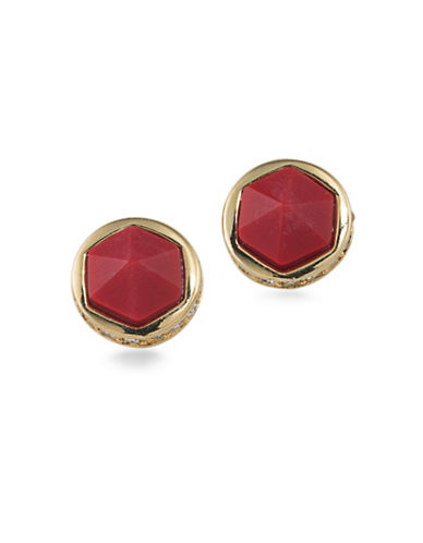 Lauren Ralph Lauren Match Point Reconstituted Limestone Goldplated Stud Earrings-RED-One Size
