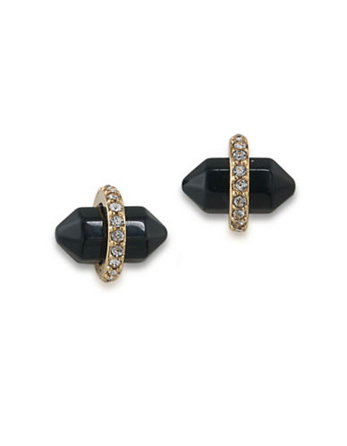 Lauren Ralph Lauren Match Point Goldplated Black Bullet Stud Earrings-BLACK-One Size