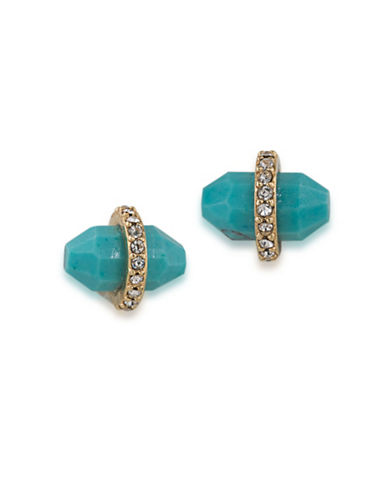 Lauren Ralph Lauren Match Point Goldplated Turquoise Bullet Stud Earrings-BLUE-One Size