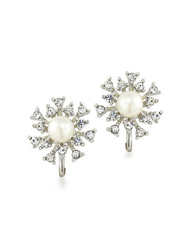 Carolee 21 Club Faux Pearl Burst Clip Earrings-WHITE-One Size