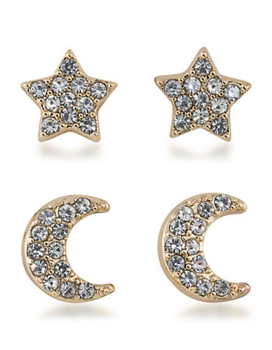 A.B.S. By Allen Schwartz Vibrant Vibes Star and Moon Duo Pierced Earrings-GOLD-One Size