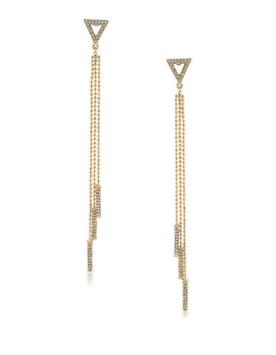 A.B.S. By Allen Schwartz Vibrant Vibes Chain and Bar Drop Pierced Earrings-GOLD-One Size