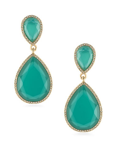 A.B.S. By Allen Schwartz Vibrant Vibes Double Drop Earrings-TEAL-One Size