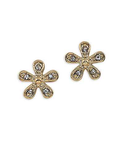 Lauren Ralph Lauren Bridal Goldtone Flower Stud Earrings-WHITE-One Size