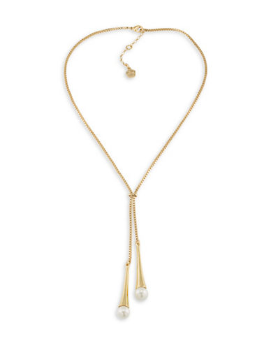 Trina Turk Faux-Pearl Lariat Necklace-GOLD-One Size