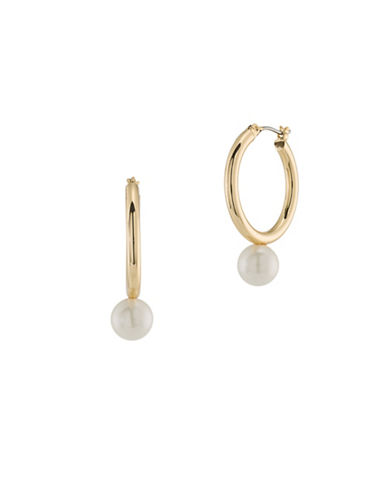 Trina Turk Pearl Drop Hoop Earrings-GOLD-One Size