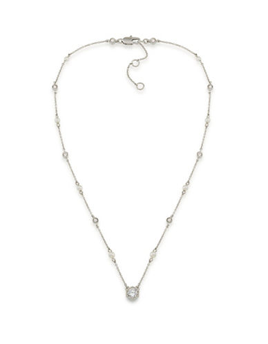 Lauren Ralph Lauren Headlines Clear Hexagon Pendant Necklace-WHITE-One Size