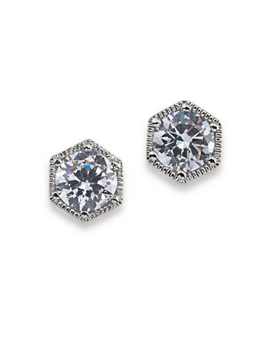 Lauren Ralph Lauren Headlines Clear Hexagon Stud Pierced Earrings-WHITE-One Size