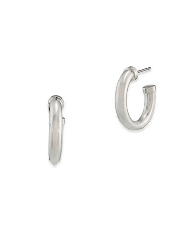 Lauren Ralph Lauren 6PM in New York Silver Hoop Pierced Earrings-GREY-One Size