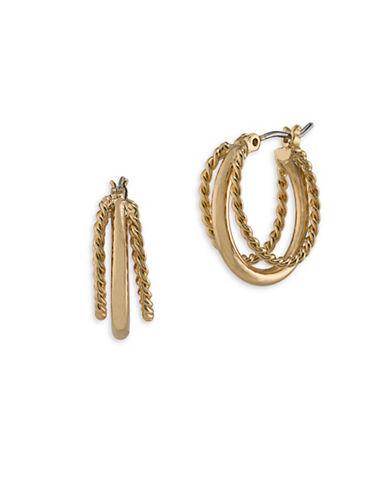 Lauren Ralph Lauren Perfect Pieces Goldtone Triple Hoop Pierced Earrings-GOLD-One Size