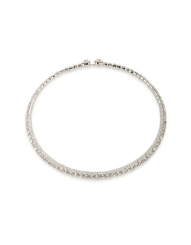 A.B.S. By Allen Schwartz All Choked Up Take 2 Silvertone Coil Choker Necklace-CRYSTAL-One Size