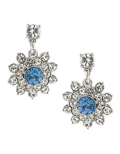 Carolee Something Blue Silvertone Cluster Drop Pierced Earrings-BLUE-One Size