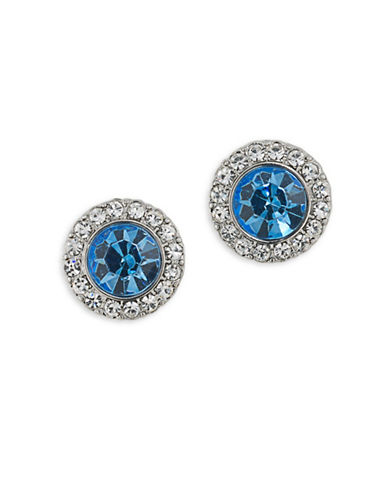 Carolee Something Blue Silvertone Stud Earrings-BLUE-One Size