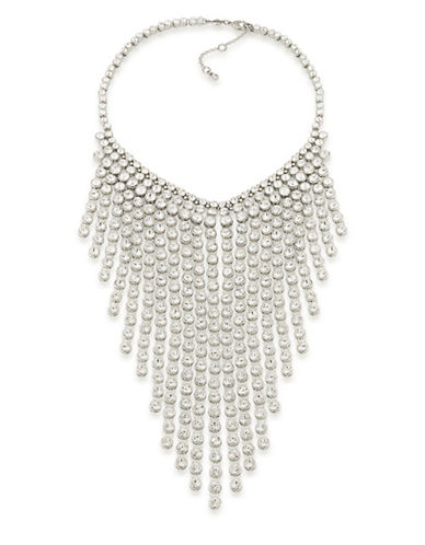 Carolee Something Blue Silvertone Statement Bib Necklace-WHITE-One Size
