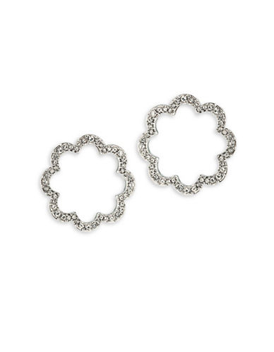 Carolee Icing On The Cake Openwork Pave Pierced Earrings-SILVER-One Size