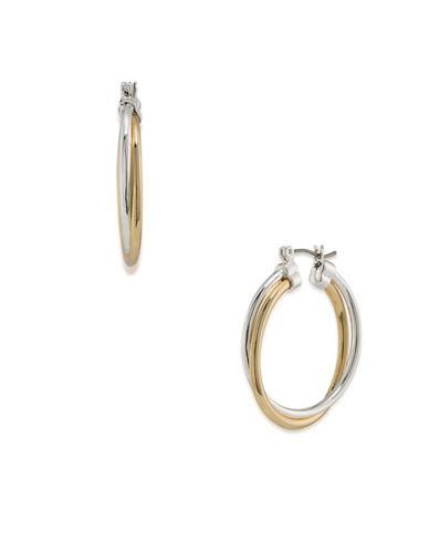 Lauren Ralph Lauren Stereo Hearts Two-Tone Double Link Hoop Earrings-MULTI-One Size