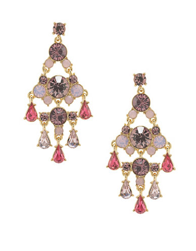 Carolee Bouquet Goldtone Statement Chandelier Earrings-RED-One Size