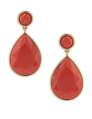 Trina Turk Mojito Nights Orange Double Drop Pierced Earrings-ORANGE-One Size