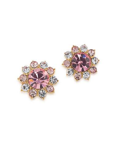 Carolee Garden Party Faux Pearl and Rose Quartz 12K Goldplated Clip-On Earrings-PINK-One Size