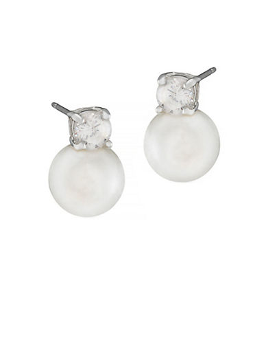 Lauren Ralph Lauren 8mm Pearl With Cubic Zirconia Accent Earrings-WHITE-One Size