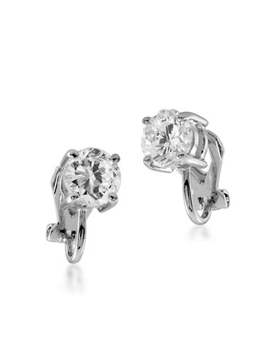 Carolee Round Cubic Zirconia Stud Clip-On Earrings-SILVER-One Size