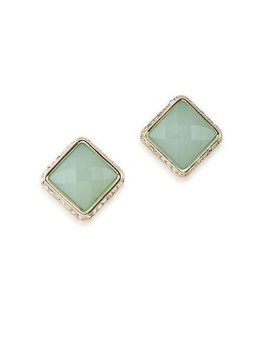A.B.S. By Allen Schwartz Castaway Faceted Stud Earrings-GREEN-One Size