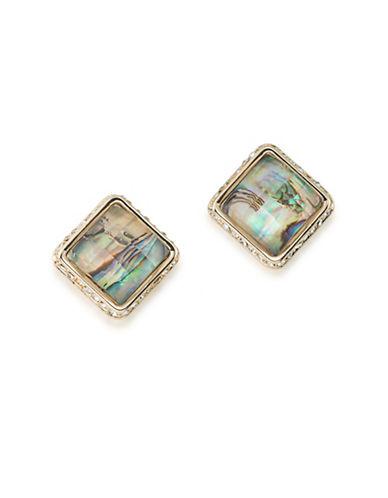 A.B.S. By Allen Schwartz Castaway Shell Stud Earrings-BROWN-One Size