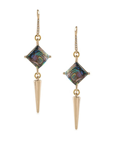 A.B.S. By Allen Schwartz Double Drop Spear Earrings-BLACK-One Size